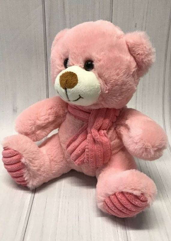TEDDY WITH SCARF 24CM - BABY PINK