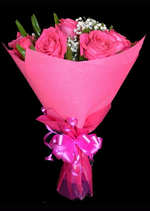 Bouquet of Hot Pink Roses